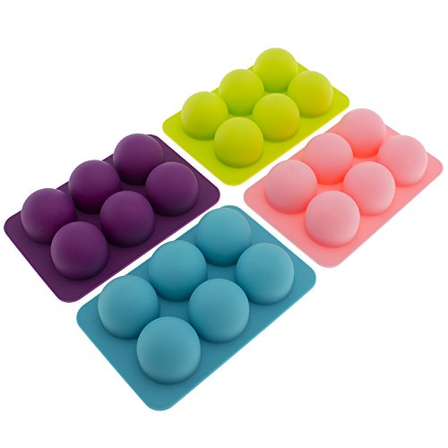 Freshware CB-650 Silicone 6-Cavity Round Chocolate Truffle, Candy and Gummy Mold, Pack of 4 ()