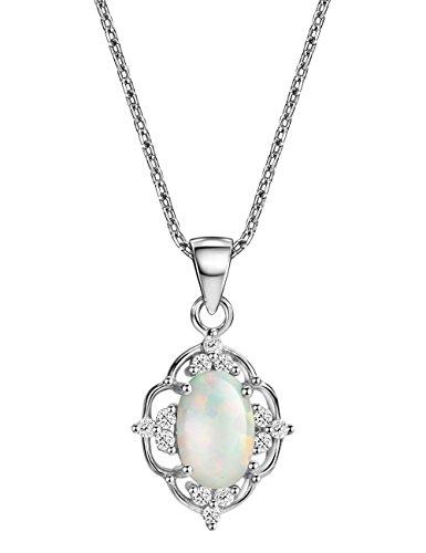 Mints Opal Filigree Pendant Necklace Sterling Silver October Birthstone Gemstone Fine Jewelry for Women