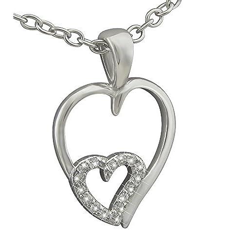 39c508076e5f veuer Cadenas de plata de ley 925 rodiada de joyas para mujer collar de  cadena y colgante de plata auténtica – Corazón con 16 circonitas de piedras  – Regalo ...
