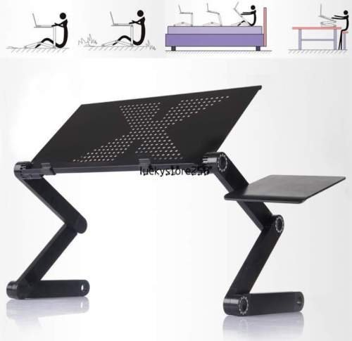 360°Adjustable foldable laptop Notebook Desk Table W/ Fan Hole Stand Bed Tray:new...