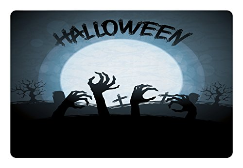 Lunarable Halloween Pet Mat for Food and Water, Spooky Zombie Hands Out Grave Rise from Dead Fiction Fantasy Party Theme Print, Rectangle Non-Slip Rubber Mat for Dogs and Cats, Blue Black]()