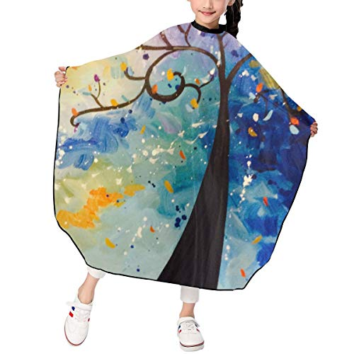 Hsanfwnzl Kids Haircut Barber Cape Colorful Tree Four Seasons Apron Hairdressing Gown Cape Hair Salon Haircut Styling Smock Cover Cloth