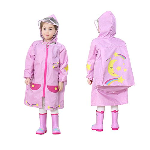 YOUDirect Kids Raincoat - Girl Boy Cartoon Waterproof Hooded Rain Jacket Lightwight Children's Poncho Teens Rainwear with School Bag Cover (S (Fit 2.95~3.44ft Height), Pink Moon)