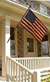 3×5 FT US AMERICAN COTTON FLAG EMBROIDERED STARS SEWN STRIPES TEA STAINED COLONIAL ANTIQUED