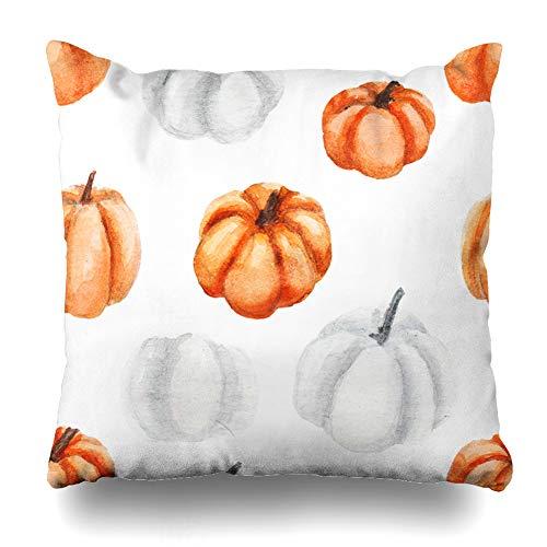 Suesoso Decorative Pillows Case 18 X 18 Inch Watercolor Pumpkins Throw Pillowcover Cushion Decorative Home Decor Nice Gift Garden Sofa Bed Car