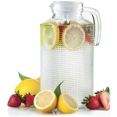 Glass Ware Diamond Cut Pitcher with Lid & Handle (Lid is White) Use for All Drinks, Punch, Milk, Water, Tea, Coffee, Juices and More (1, 1.85lt)