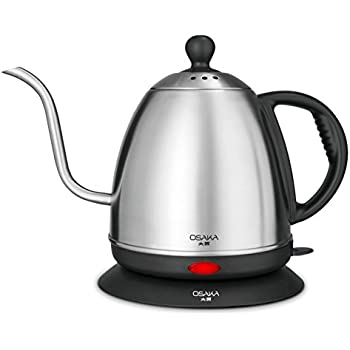 Osaka, 1 Liter Electric Quick Boil Gooseneck Water Kettle for Drip Coffee – Accurate Flow Control And Fully Stainless Steel Interior Tea Kettle - Perfect For Manually Brewed Pour Over Coffee and Tea