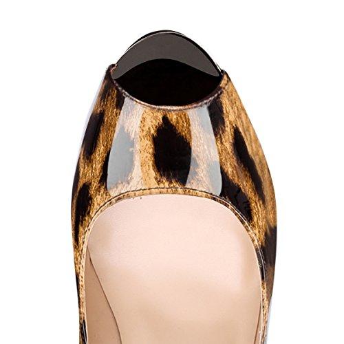 For Aurlandssko Kjole Bryllupsfesten Håndlaget Toe Stiletto Ekstreme Fashion Onlymaker Peep leopard Pumper High Kvinners 1 7f8wvn1