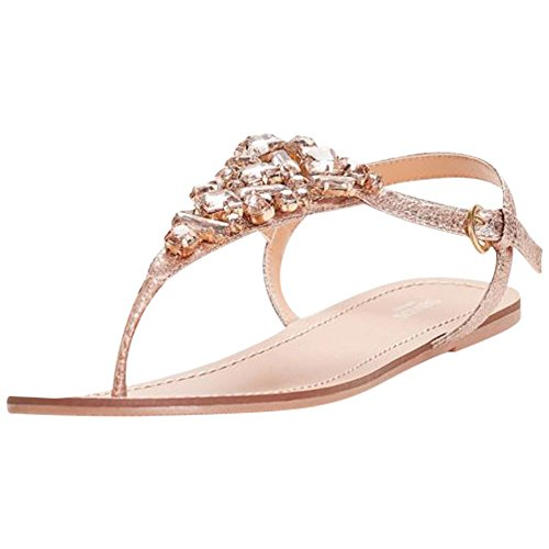 (Jeweled Metallic Ankle-Strap Thong Sandals Style Rio, Rose Gold, 9W)