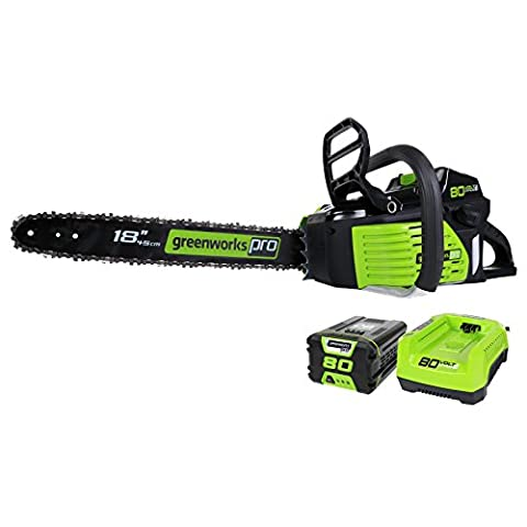 GreenWorks Pro GCS80420 80V 18-Inch Cordless Chainsaw, 2Ah Li-Ion Battery and Charger Included (Chainsaw 18 Inch)