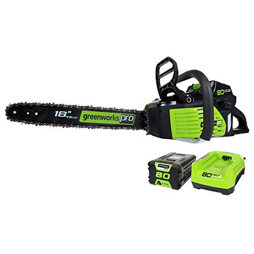 GreenWorks Pro GCS80420 80V 18-Inch Cordless Chainsaw, 2Ah Li-Ion Battery