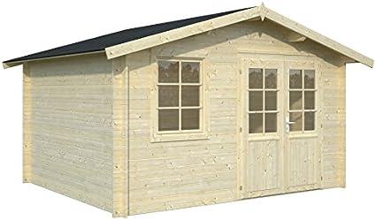 Casita de madera de abeto para jardín - Dimensiones: 10 m²; 380 x 320 cm; 28 mm: Amazon.es: Hogar