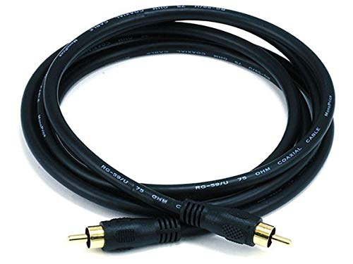 Monoprice 6ft Coaxial Audio/Video RCA Cable M/M RG59U 75ohm (for S/PDIF, Digital Coax, Subwoofer & Composite Video)