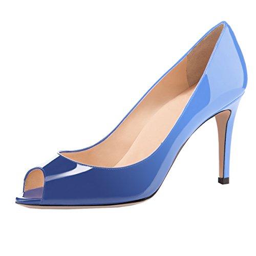 Peep Wedding Stiletto Classic Heel Pumps Toe light Bridal Navy Pumps Open Formal Heel Women Eldof Toe Mid 8Uqw58A