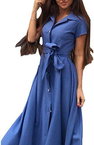 Jaycargogo Épinglette Boho Femmes Bas Longue Robe Décontractée Avec Ceinture Bleue
