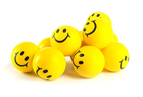 Smiley Stress Ball - Why Worry? Be Happy! Fun Bulk Toys Party Favors, Office Gifts - Neon Yellow Smile Funny Face Stress Ball - Happy Smiley Face Stress Balls Bulk Pack of 12 2