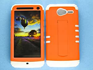 SHOCKPROOF HYBRID CELL PHONE COVER PROTECTOR FACEPLATE HARD CASE AND WHITE SKIN WITH STYLUS PEN. KOOL KASE ROCKER FOR MOTOROLA ELECTRIFY M XT901 NEON PEARL ORANGE WH-A006-AF