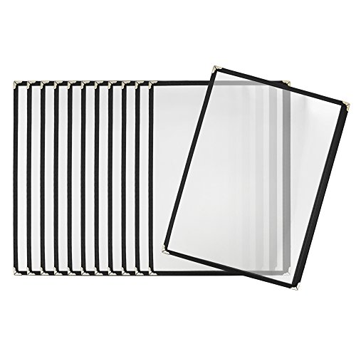 Aspire 12 Packs Clear Single Pocket Menu Cover with Black Binding