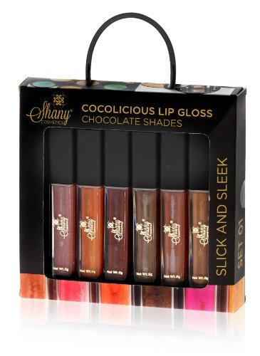 Shany Shany Cosmétiques Lip Gloss Cocolicious Set No.1 chocolat Shades Aloe Vera et la vitamine E, 6 Count