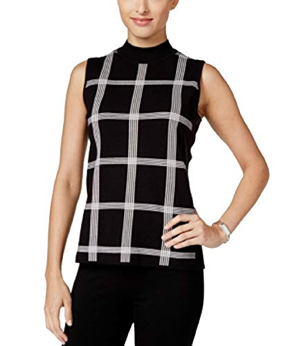 (Alfani Petite Printed Mock-Neck Sweater (Window Pane, PM))