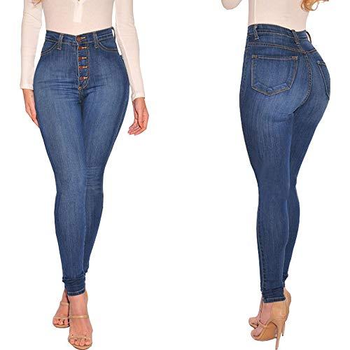 Pantalon Slim Pantalon conqueror Skinny pour Femmes Taille Sport Leggings Slim de Haute Jeans Bleu qwq87nRZ