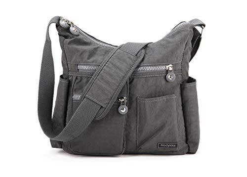 Nodykka Crossbody Bag for Women Shoulder Travel Purse Nylon Messenger Satchel Lightweight Handbag With Multi Pocket (Dark-Grey)