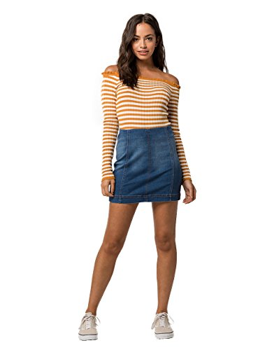 (Tinsel Town TINSELTOWN Seamed Denim Mini Skirt, Medium Wash, 11)