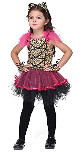 Girl's Fancy Dress Halloween Dressing up Party Pirate Witch Batgirl Costume (XL: 7-8Y, Leo)