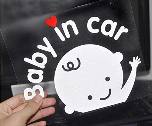 KND Baby in Car Stickers and Decals Safety Signs Funny car Window Stickers Waterproof Reflective White