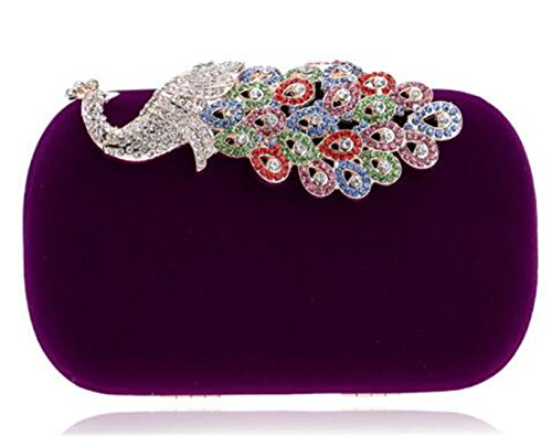 Clutch Rhinestones Handbags Shoulder Bridal Wedding Bag Purse For Ym1022purple Wedding XO55q