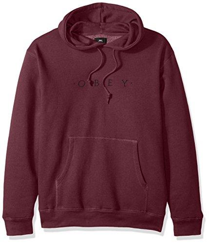 Obey Men's Distant Hooded Fleece Sweatshirt, Eggplant, (Fleece Screen Print Sweatshirt)