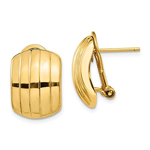 Ribbed Posts (FB Jewels Solid 14K Yellow Gold Polished Ribbed Omega Back Post Earrings)