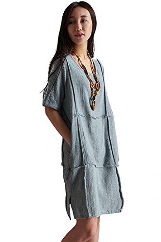 Azbro Women's Demure Woman Binding Ornament Linen Shift Dress