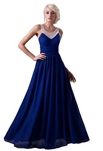 Snowskite Women's High Neck Chiffon Beaded Evening Party Formal Dress Royal Blue 8 (Cinderalla Dress)