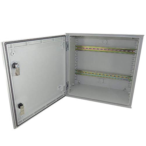 Altelix 16x16x8 Industrial DIN Rail FRP Fiberglass NEMA 3X Box Weatherproof Enclosure with Hinged Lid & Quarter-Turn Latches