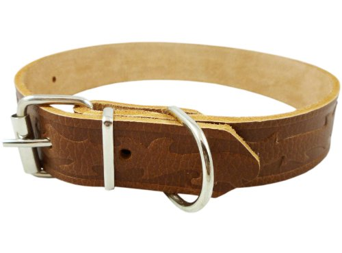 "1.25"" Wide Tooled Leather Dog Collar Brown Large. Fits 16""-21"" Neck"