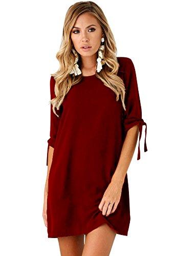 Robe Blouse Mini Rouge 3 Rond Robe Chemise Col Manche Yidarton 4 Femme Longue Tunique 8qPw76xTx