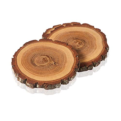 Oak Coaster - Handmade, Rustic, Natural Wood Coasters for Drinks by TreeHouse London (Oak Wood). Set of 4 Decorative Tree Slices. Contemporary Wooden Table Decor. Perfect for Beer, Wine and Interior Design.