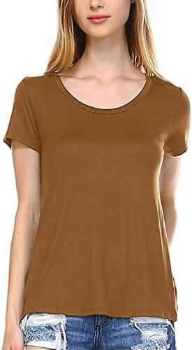 Fashionazzle Women's Basic Scoop Neck Short Sleeve Loose Fit T-shirt