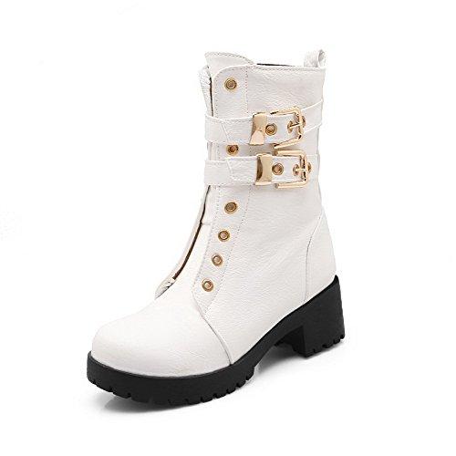 Heels Toe Solid Zipper Soft Kitten Round Women's Boots Material White Allhqfashion Closed nEwaAqxY