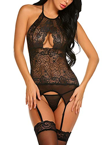 Avidlove Women Lace Lingerie Set Babydoll Bodysuit Chemise Nightwear with Garter Belt Black L