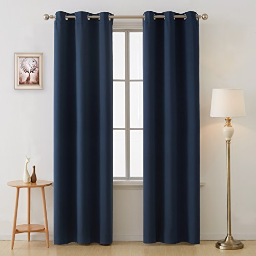 Deconovo Grommet Room Darkening Thermal Insulated Blackout Curtains Window Panels for Bedroom Width 38 Inch by Length 84 Inch Navy Blue Two Curtain Panels (Silk Navy Curtains)