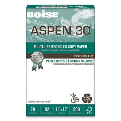 Boise 054907 ASPEN 30% Recycled Multi-Use Paper, 92 Bright, 20lb, 11 x 17, White (Case of 2500 Sheets)