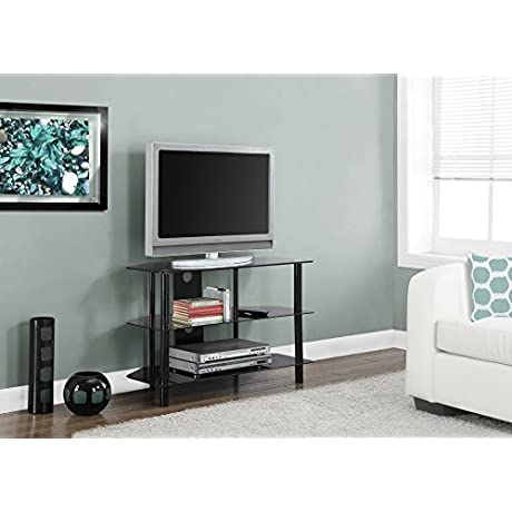 Monarch Specialties Black Metal TV Stand With Tempered Black Glass 36 Inch