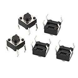 uxcell 5Pcs 6mmx6mmx5mm Panel PCB Momentary Tactile Tact Push Button Switch 4 Pins DIP
