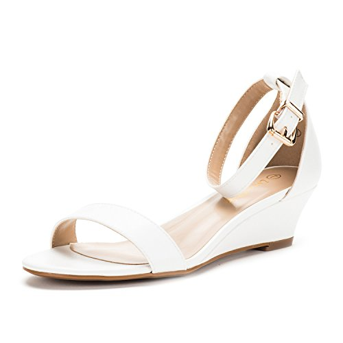 DREAM PAIRS Women's Ingrid White Pu Ankle Strap Low Wedge Sandals - 11 M US