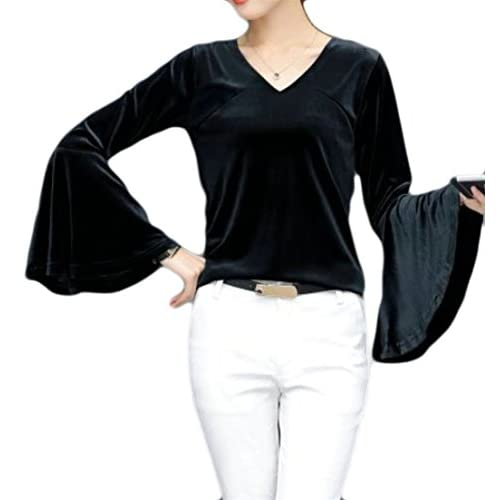 Cruiize Women's Elegant Velvet Flare Sleeve T-Shirt Blouse V-Neck Tops