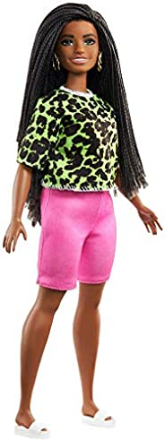 Barbie Fashionistas Doll with Long Brunette Braids Wearing Neon Green Animal-Print Top, Pink Shorts, White San
