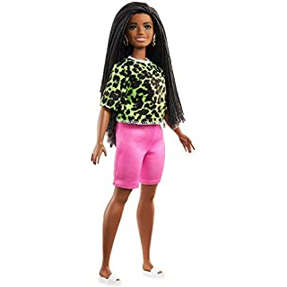 Barbie Fashionistas Doll with Long Brunette Braids Wearing Neon Green Animal-Print Top, Pink Shorts, White Sandals & Earrings, Toy for Kids 3 to 8 Years Old