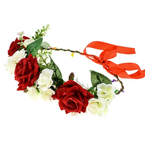 - DDazzling Beautiful Women's Floral Crown Hair Accessory Flower Crown Flower Headband (2-Ivory and Red)